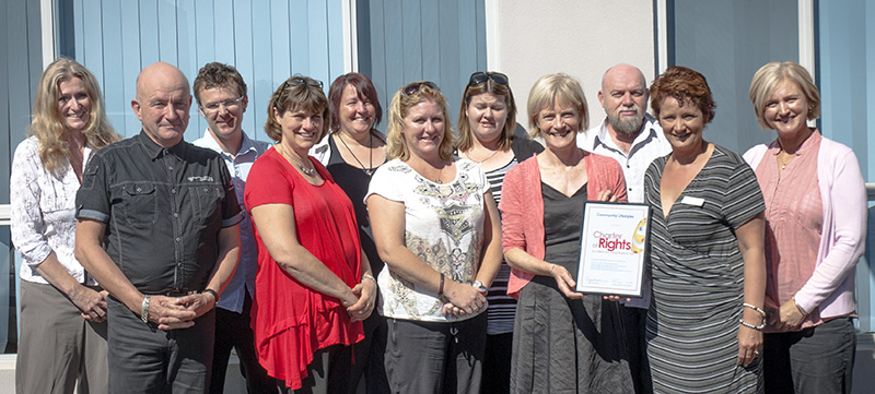 Guardian Pam Simmons is pictured with Sue Horsnell and the Community Lifestyles team at the presentation of their certificate of endorsement of the Charter of Rights in their Murray Bridge headquarter on March 4th.