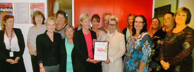 CEO Amanda Blight is flanked by Guardian Pam Simmons and Charter Champion Tracy Dalcorobbo at the HenderCAre certificate presentation on 23 May 2014.
