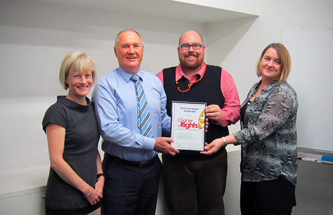 Community Support Incorporated became the latest organisation to endorse the Charter of Rights at a ceremony in their offices on June 3, 2014.  Pictured are, from right, Guardian Pam Simmons, CE Geoff Halsey, Service Delivery Manager Adam Sawtell and Service Quality Manager Paula Roberts.
