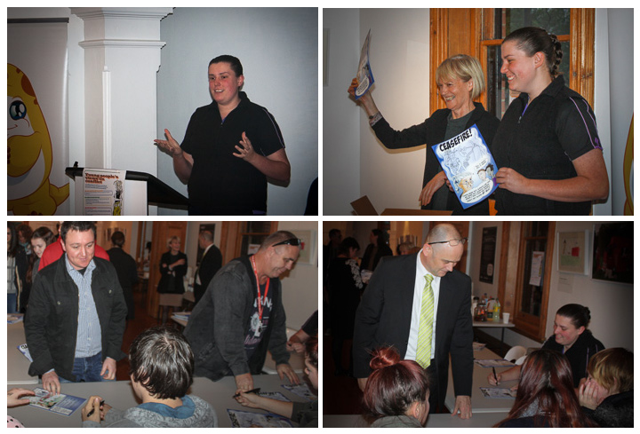 collage of oictures from the launch of the CEASEFIRE comic