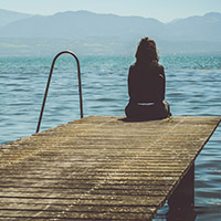 picture of girl on jetty