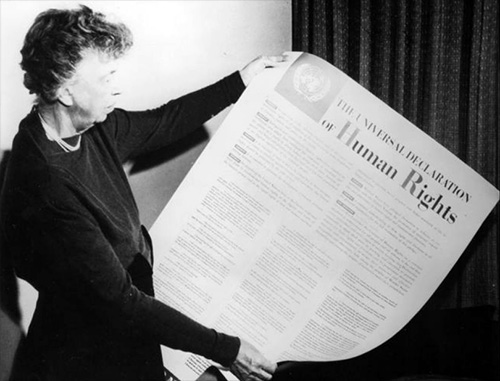 Eleanor Roosevelt, widow of American President Franklin D. Roosevelt, is widely recognised as the driving force for the Declaration's adoption